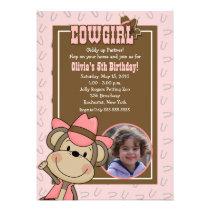 Cowgirl Western Monkey 5x7 *PHOTO* Birthday Personalized Invitations