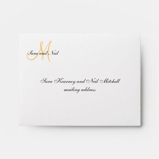 Cream Yellow Wedding RSVP Envelopes Zazzle