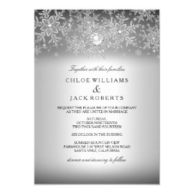 Crystal Pearl Snowflake Silver Winter Wedding 5x7 Paper Invitation Card