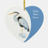 Custom Dated Great Blue Heron Watercolor Bird Double-Sided Heart Ceramic Christmas Ornament