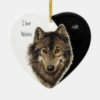 Custom Dated I love Wolves, Watercolor Animal Double-Sided Heart Ceramic Christmas Ornament