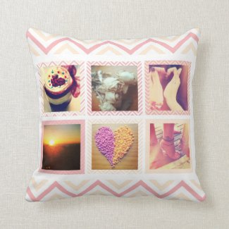 Custom Peach Chevron Instagram Throw Pillow