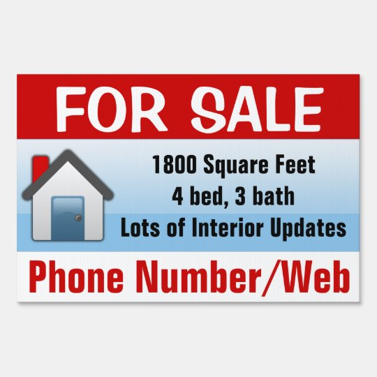 Customizable House For Sale Sign, Modern Blue Lawn Sign Zazzle - forsale sign