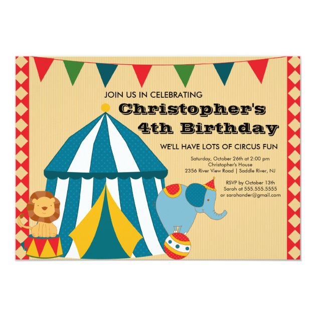 Cute Circus Tent Birthday Party Invitation Zazzlecom