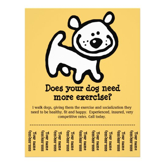 CUTE! Dog Walking promotion tear-sheet flyer_Y Flyer Zazzle