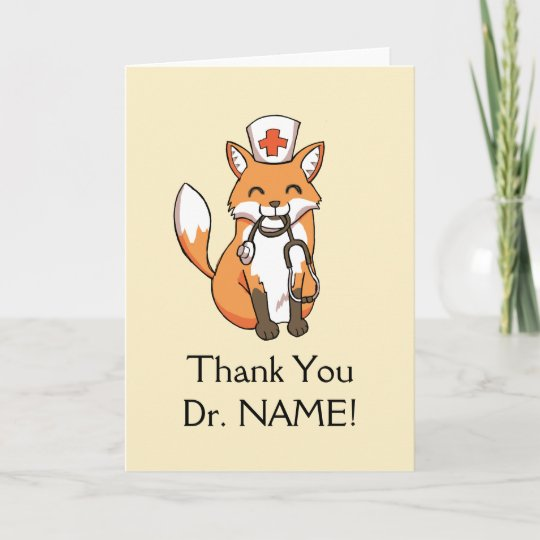 Cute Fox Drawing Thank You Card Doctor Template Zazzle