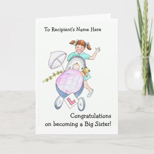 Cute New Baby Congratulations Card for Sister Zazzle