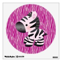 Cute Pink Zebra & Animal Print Wall Decal | Zazzle