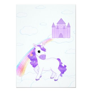 Cute Purple Unicorn Cartoon Childs Party Invite