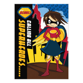 Cute Superhero Girl Party Invite