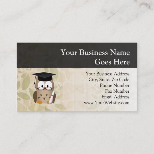 Cute Wise Owl Graduate Business Card Zazzle