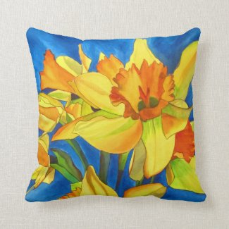 Daffodil narcissus watercolour flower art pillow