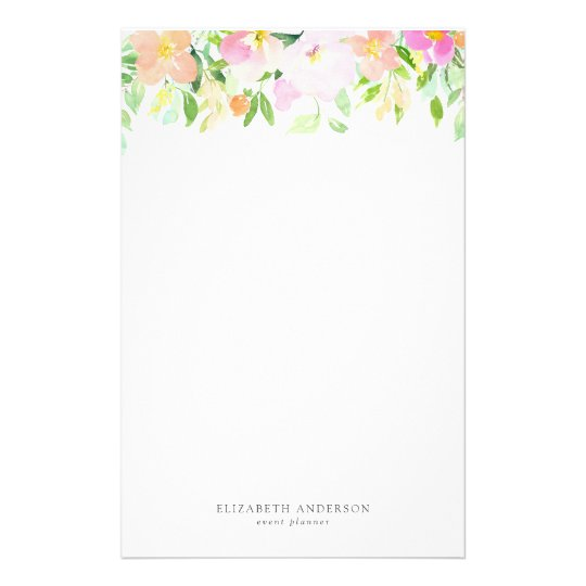 Dainty Watercolor Flowers Pastel Floral Stationery Zazzle