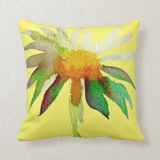Daisy yellow moder watercolor flower art throw pillow