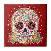 Day of the Dead Sugar Skull Ceramic Tile | Zazzle