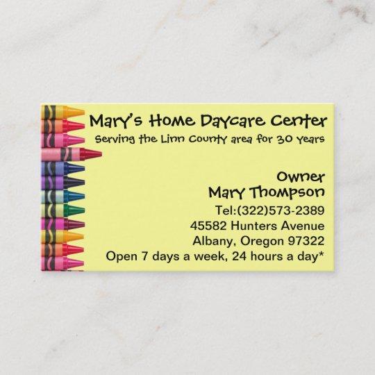 Daycare Babysitting Childcare Business Card Zazzle