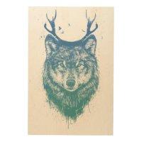 Deer wolf wood wall decor | Zazzle