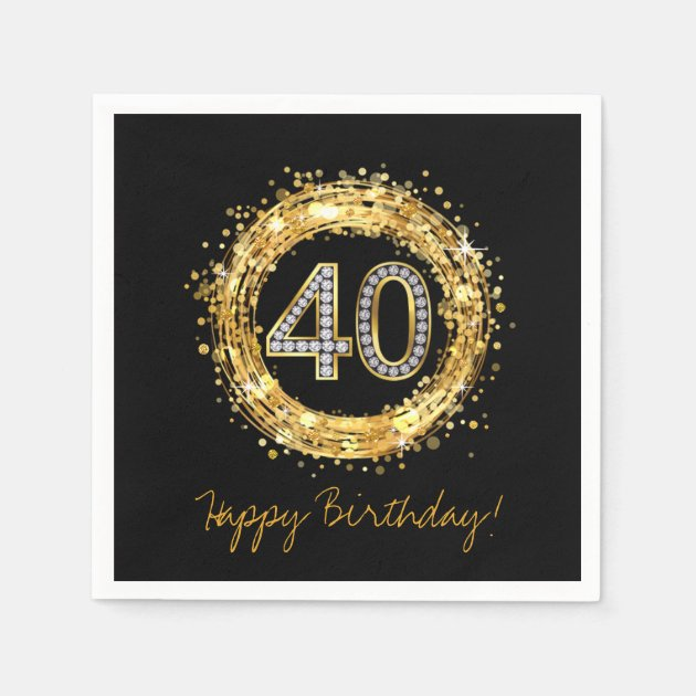 Golden 40 Diamond Number 40 Glitter Bling Confetti | Gold Napkin
