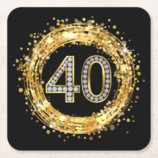 Golden 40 Diamond Number 40 Glitter Bling Confetti | Gold Square