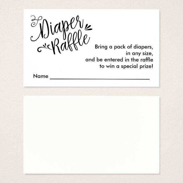 Diaper Raffle Ticket, Black Script Custom Color Business Card