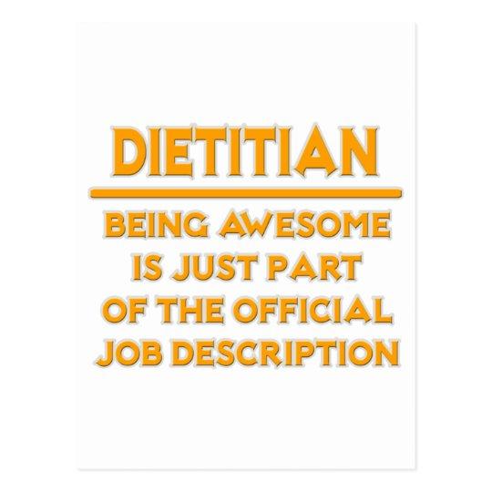 Dietitian  Official Job Description Postcard Zazzle
