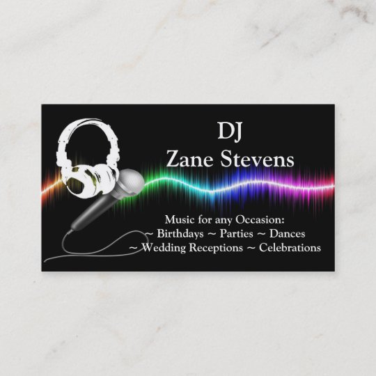 DJ Microphone Headphones Business Card Template Zazzle