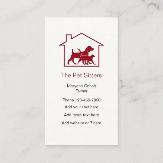 Dog And Cat Pet Sitter House Symbol Business Card Zazzle