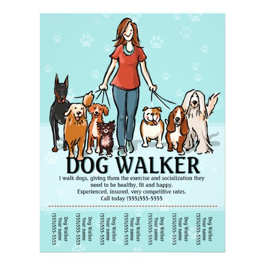 Dog Walking Dog Walker Tearsheet Flyer Zazzle