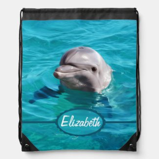 Dolphin in Blue Water Photo Cinch Bag