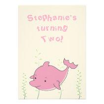Dolphin Under the Sea 2nd Birthday Baby Invite