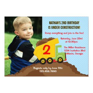 Dump Truck Construction Boy Birthday Party Photo Custom Invitations