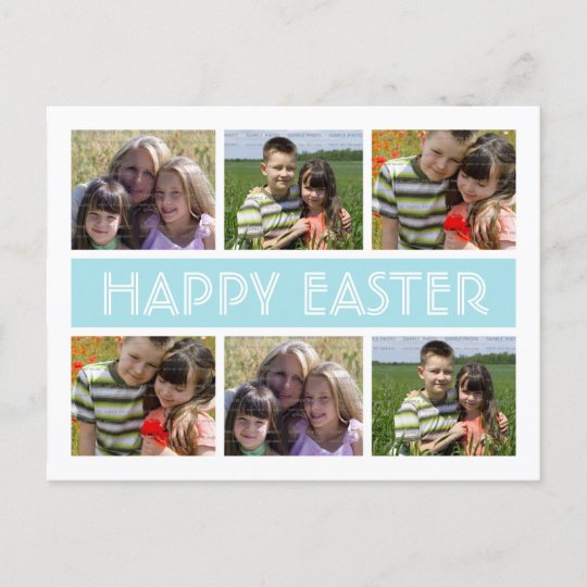 Easter Photo Collage Postcard Template Blue Zazzle - postcard collage template