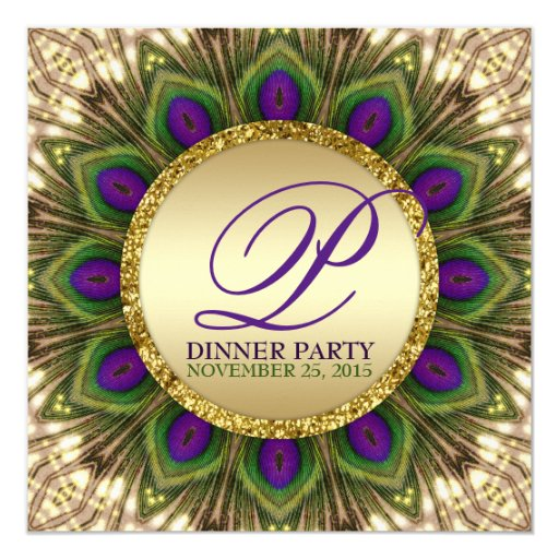 Eastern Peacock Feathers Dinner Party Invitations
