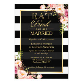 EAT Drink and Be Married Golden Floral Wedding 5x7 Paper Invitation Card
