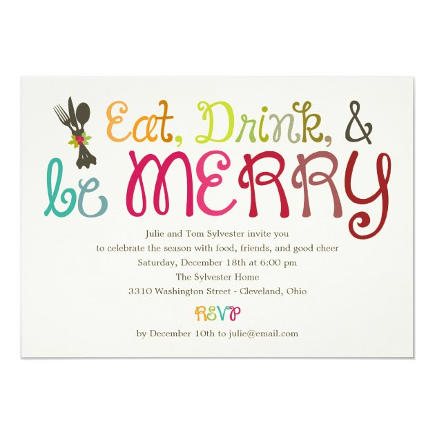 Personalized Eat drink and be merry Invitations