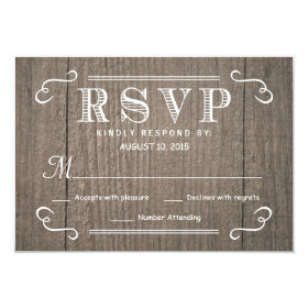 Eat Drink & be Married RSVP Western Wood Wedding 3.5x5 Paper Invitation Card