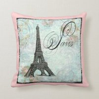 Eiffel Tower and Pink Roses Throw Pillow   Zazzle