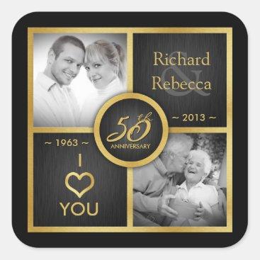 Elegant Black and Gold 50th Wedding Anniversary Square Sticker