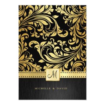 Elegant Black and Gold Floral Damask Card