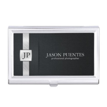 Elegant Black and Silver Professional Business Card Holder