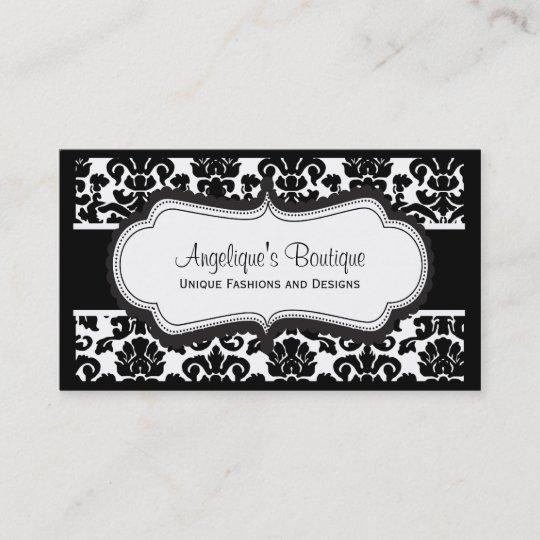 Elegant Black and White Damask Business Cards Zazzle
