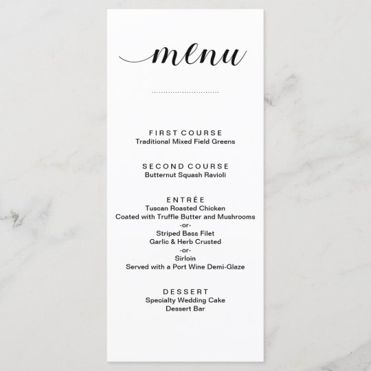 Elegant Black and White Script Wedding Menu Cards Zazzle
