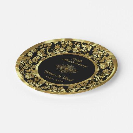 Elegant Black Gold 50th Wedding Anniversary Paper Plate