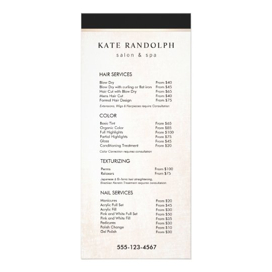 Elegant Black White Marble Salon Price List Menu Zazzle