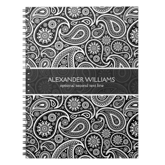 Elegant Black  White Paisley Notebook Zazzle
