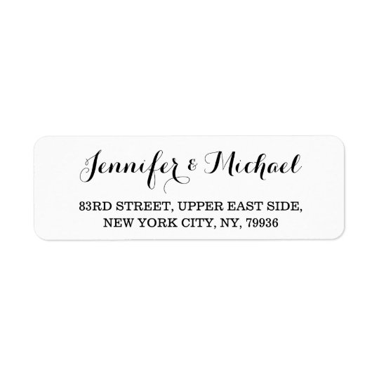 Elegant Bride Groom Name Wedding Return Address Label Zazzle