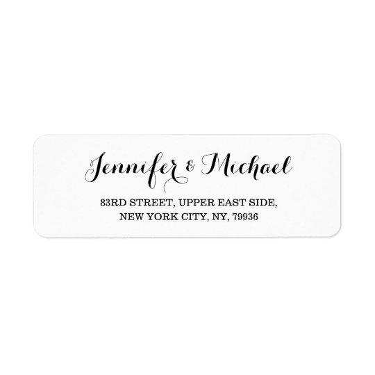 Elegant Bride Groom Wedding Couple Return Address Label Zazzle