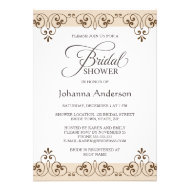 Elegant brown beige lace damask bridal shower invites