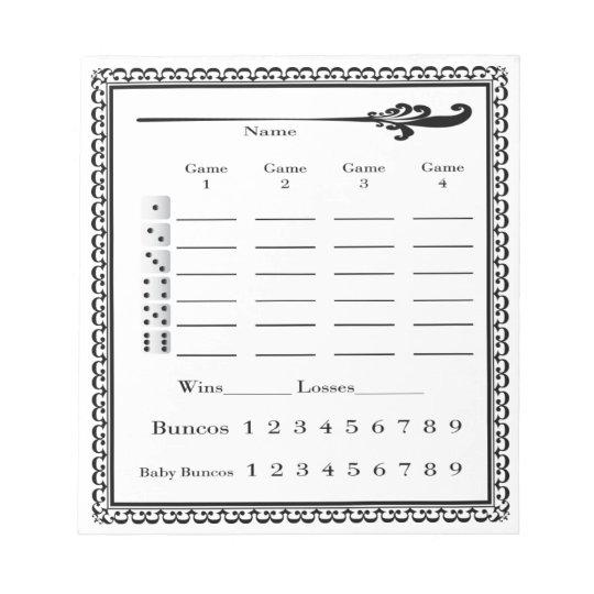Elegant Bunco Score Sheet Notepad Zazzle - bunco score sheets template