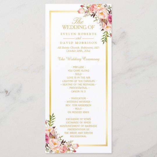Elegant Chic Gold Frame Floral Wedding Program Zazzle